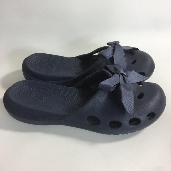 860987e80f3c CROCS Shoes - CROCS WOMENS Navy Blue Mules Ribbon Bows Slides
